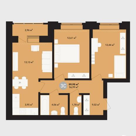 Вариант №5215, 3-комнатная квартира в жилом комплексе