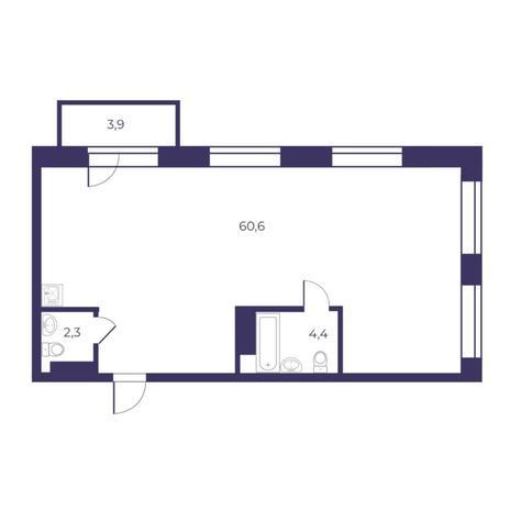 Вариант №5296, 3-комнатная квартира в жилом комплексе Шесть звезд