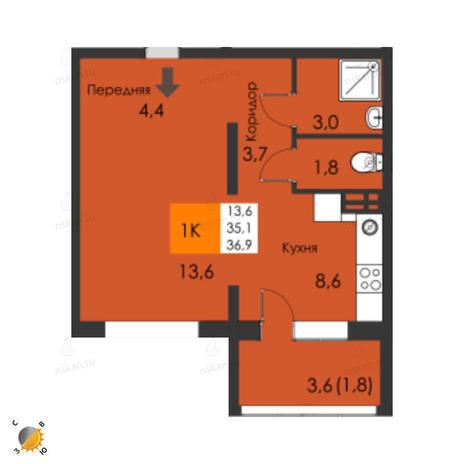 Вариант №2316, 2-комнатная квартира в жилом комплексе Акварельный 3.0