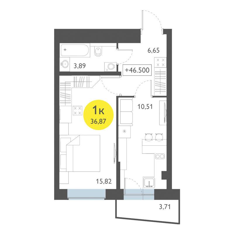 Планировка 1-комнатная площадью 36.87 м<sup>2</sup> в ЖК Ясный берег