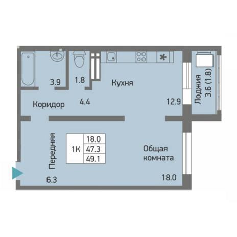 Вариант №4505, 1-комнатная квартира в жилом комплексе Акварельный 3.0