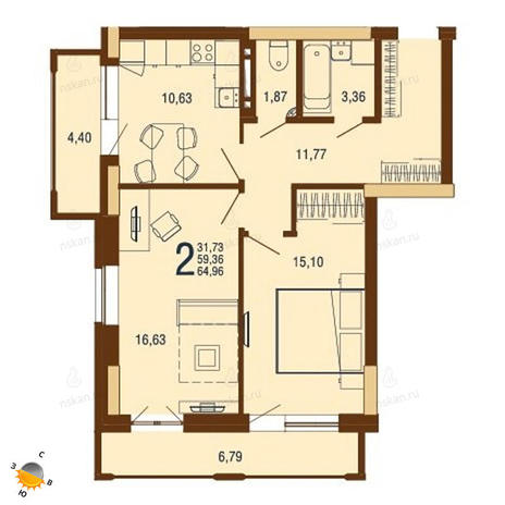 Вариант №1812, 2-комнатная квартира в жилом комплексе На Доватора