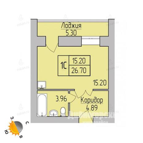 Вариант №1697, 1-комнатная квартира в жилом комплексе Дивногорский
