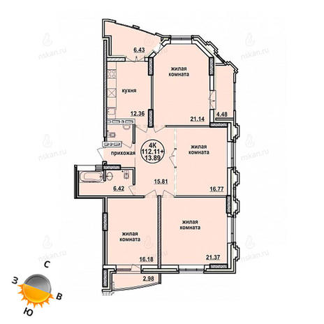 Вариант №865, 4-комнатная квартира в жилом комплексе Заельцовский