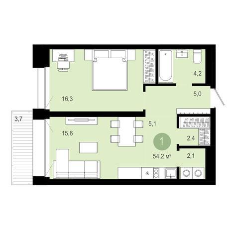 Вариант №4026, 2-комнатная квартира в жилом комплексе Облака