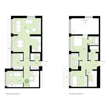 Вариант №4658, 4-комнатная квартира в жилом комплексе Европейский Берег