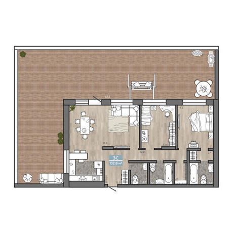 Вариант №3114, 3-комнатная квартира в жилом комплексе Flora & Fauna