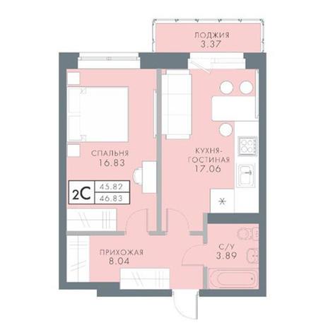 Вариант №2829, 2-комнатная квартира в жилом комплексе Традиции
