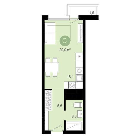 Вариант №4339, 1-комнатная квартира в жилом комплексе Ключевой