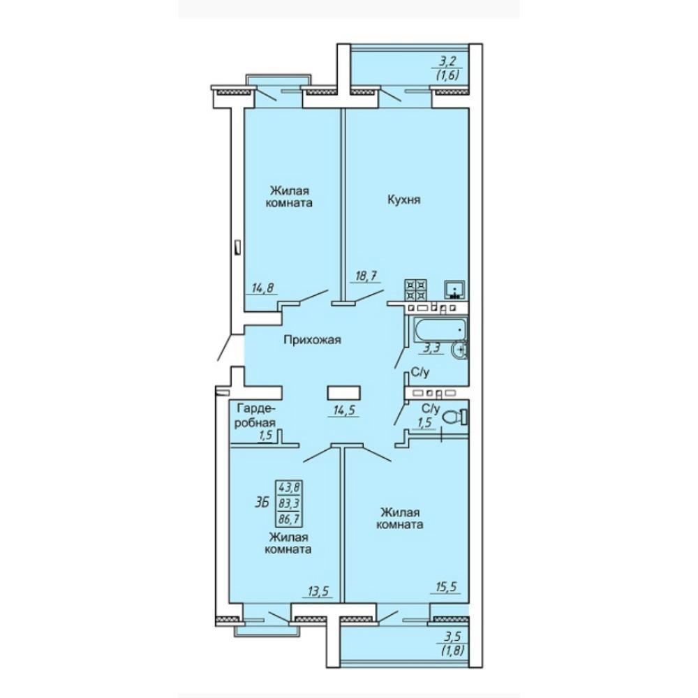 Планировка 3-комнатная площадью 86.7 м<sup>2</sup> в ЖК Свобода