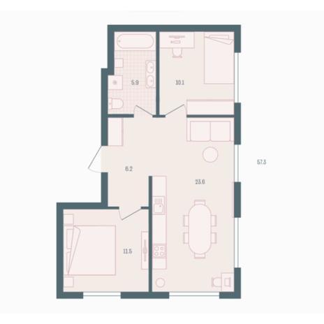 Вариант №5917, 2-комнатная квартира в жилом комплексе