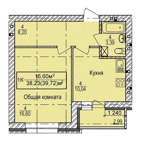 Вариант №3347, 1-комнатная квартира в жилом комплексе Европейский Берег