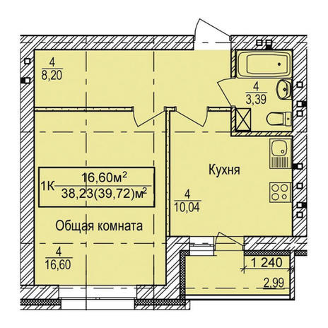 Вариант №3347, 1-комнатная квартира в жилом комплексе