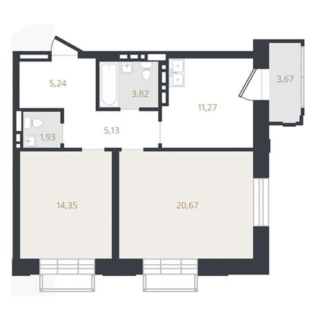 Вариант №3326, 2-комнатная квартира в жилом комплексе