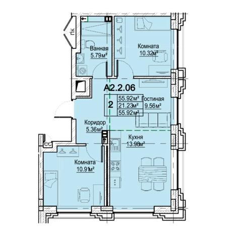 Вариант №5473, 3-комнатная квартира в жилом комплексе
