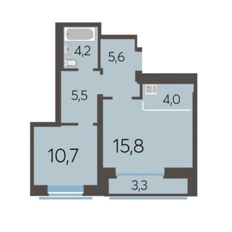 Вариант №5773, 2-комнатная квартира в жилом комплексе