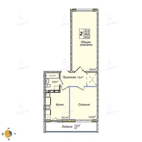 Вариант №2395, 2-комнатная квартира в жилом комплексе Северная корона