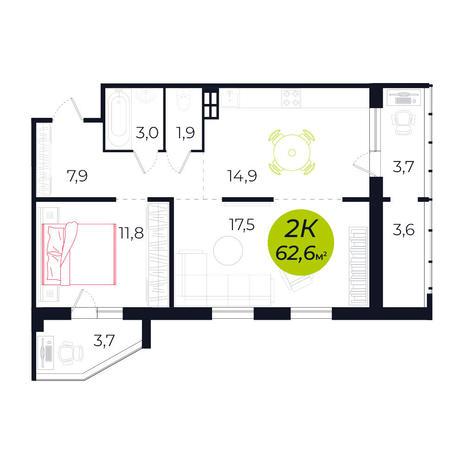 Вариант №4238, 2-комнатная квартира в жилом комплексе Чистая Слобода
