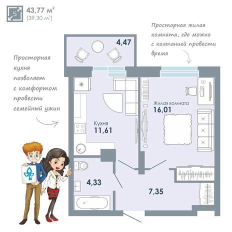 Вариант №2079, 1-комнатная квартира в жилом комплексе Чистая Слобода
