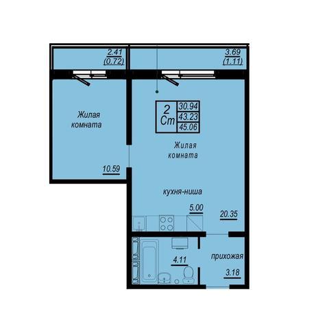 Вариант №4948, 2-комнатная квартира в жилом комплексе