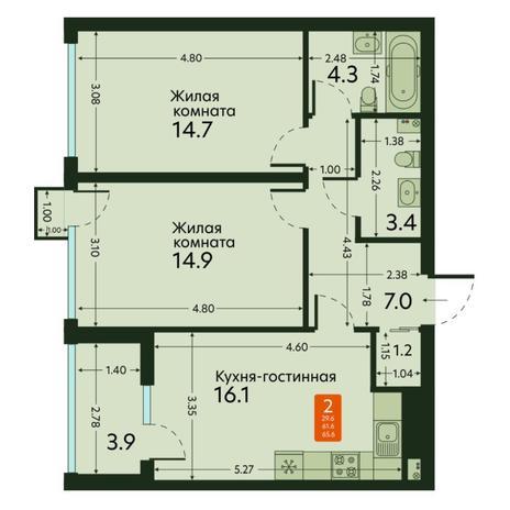 Вариант №6673, 2-комнатная квартира в жилом комплексе