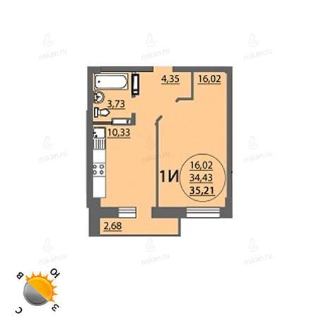 Вариант №770, 1-комнатная квартира в жилом комплексе Аврора