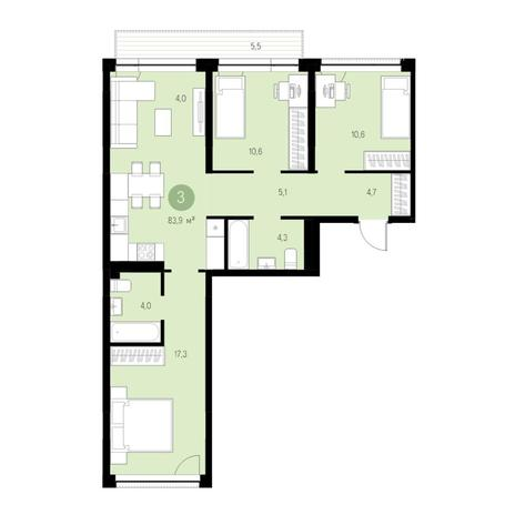 Вариант №4734, 4-комнатная квартира в жилом комплексе Европейский Берег