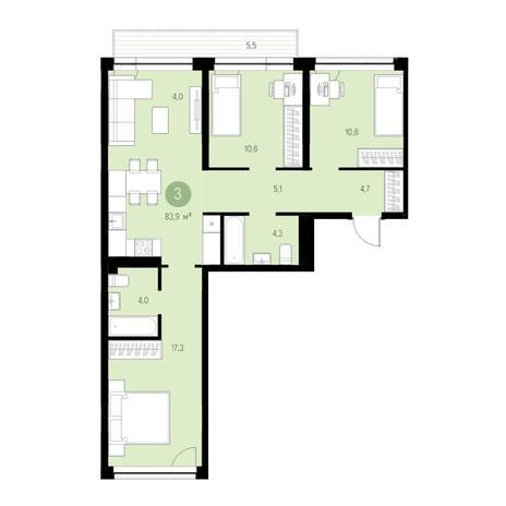Вариант №4734, 4-комнатная квартира в жилом комплексе
