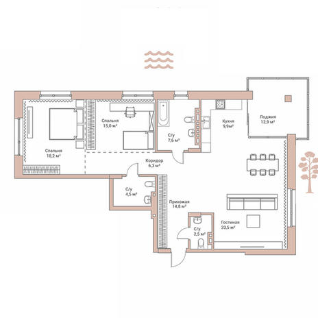 Вариант №2893, 3-комнатная квартира в жилом комплексе