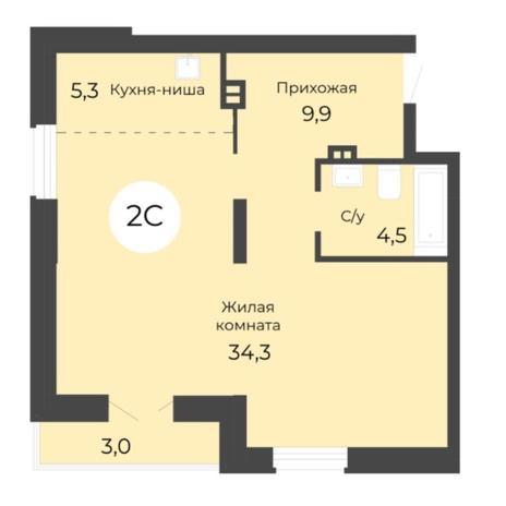 Вариант №5687, 2-комнатная квартира в жилом комплексе