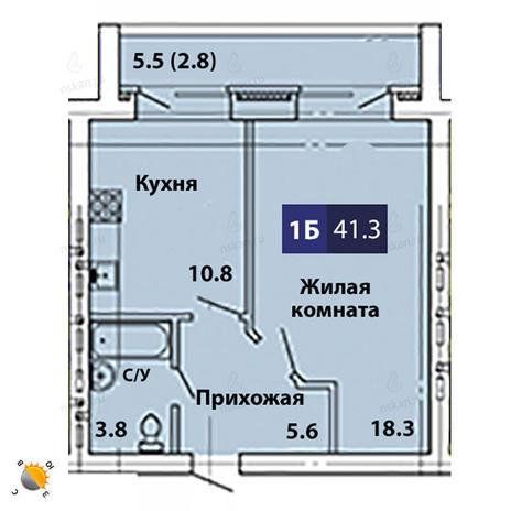 Вариант №1839, 1-комнатная квартира в жилом комплексе