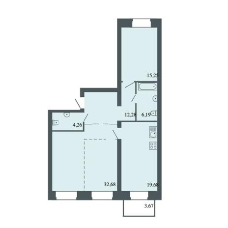 Вариант №6162, 3-комнатная квартира в жилом комплексе