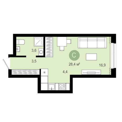 Вариант №4063, 1-комнатная квартира в жилом комплексе Пшеница