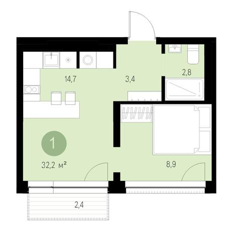 Вариант №4644, 2-комнатная квартира в жилом комплексе Европейский Берег