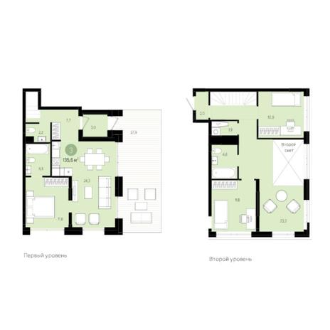 Вариант №6015, 4-комнатная квартира в жилом комплексе