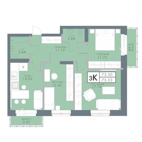Вариант №2838, 3-комнатная квартира в жилом комплексе