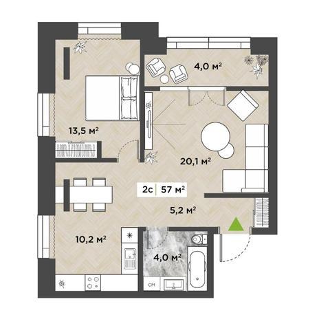Вариант №5857, 2-комнатная квартира в жилом комплексе