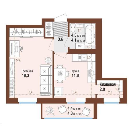 Вариант №4222, 1-комнатная квартира в жилом комплексе Крымский