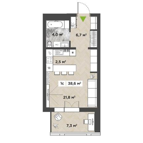 Вариант №5849, 1-комнатная квартира в жилом комплексе
