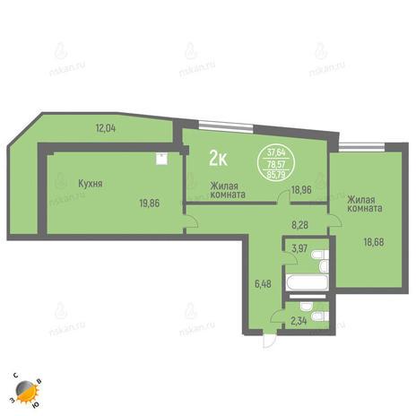 Вариант №1826, 3-комнатная квартира в жилом комплексе Фианит