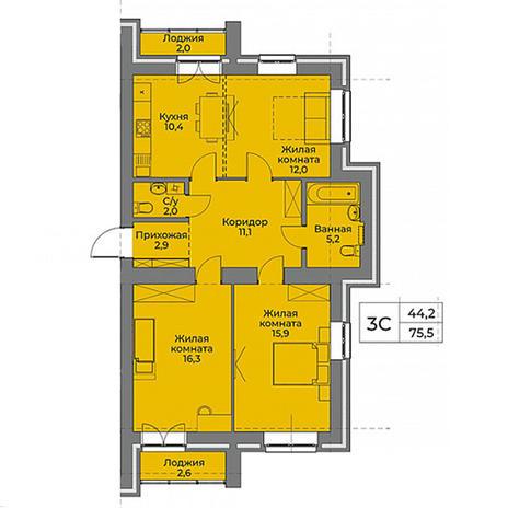 Вариант №3958, 3-комнатная квартира в жилом комплексе Северная корона