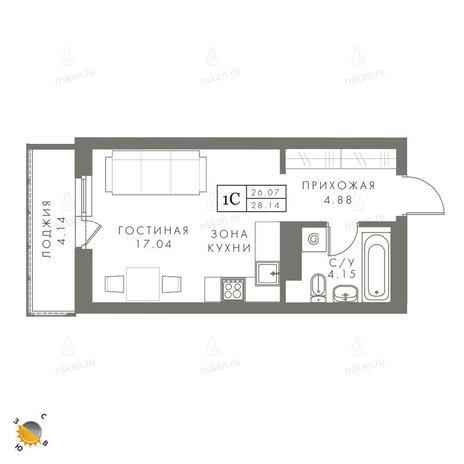 Вариант №2446, 1-комнатная квартира в жилом комплексе