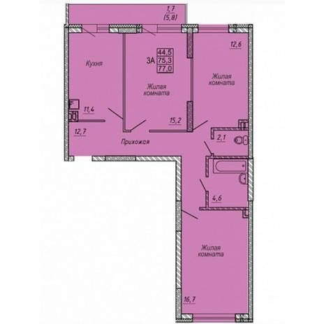 Вариант №5321, 3-комнатная квартира в жилом комплексе Радуга Сибири