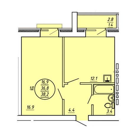 Вариант №3603, 1-комнатная квартира в жилом комплексе