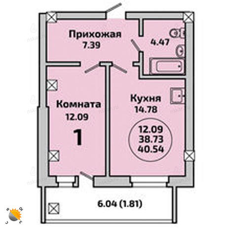 Вариант №2002, 2-комнатная квартира в жилом комплексе Родники