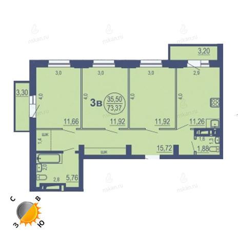 Вариант №1688, 3-комнатная квартира в жилом комплексе На Зыряновской