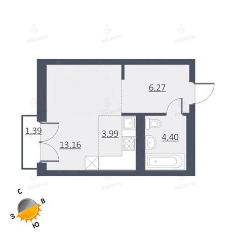 Вариант №1635, 1-комнатная квартира в жилом комплексе Дунаевский