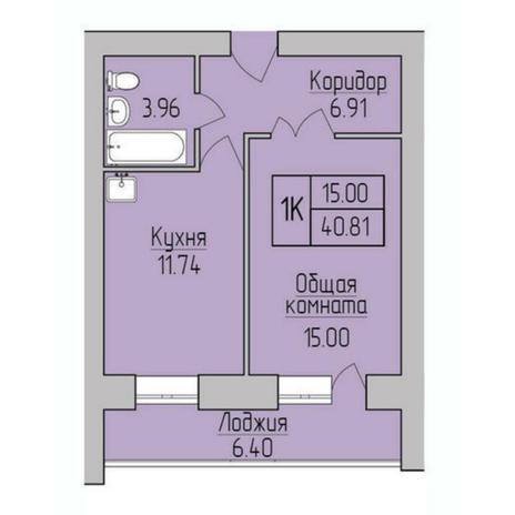 Вариант №5385, 1-комнатная квартира в жилом комплексе