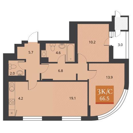 Вариант №5677, 3-комнатная квартира в жилом комплексе