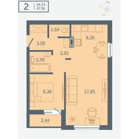 Вариант №4764, 2-комнатная квартира в жилом комплексе